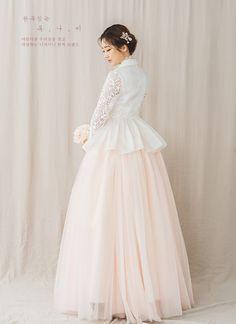 10 Stunning Dresses for Non-Traditional Brides Hanbok Wedding, Muslimah Wedding Dress, Hijab Wedding Dresses, Wedding Dress Sleeves, Bridal Dresses, Korean Traditional Dress, Traditional Fashion, Traditional Dresses, Kebaya Dress