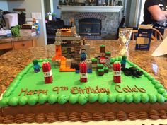 Minecraft birthday stuff is impossible to find! So I came up with the idea of the cake topper!! Woot!! Mommy win!!! Especially the TNT candles! Which turned out to be a huge flame! Ha!
