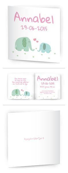 Bekijk de leukste kaartjes op onze site | http://www.kissgeboortekaartjes.nl | #baby #geboortekaartje  #kissgeboortekaartjes #olifant #hartjes #pastel #roze #mama #dochter