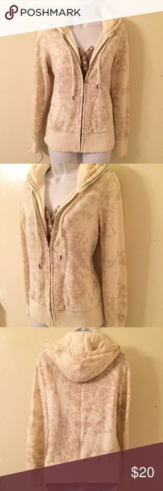 American Eagle sweatshirt AE sweatshirt. Ivory with light mocha colored floral design. Quilted hood. Very soft and cozy. In great condition. American Eagle Outfitters Tops Sweatshirts & Hoodies