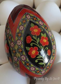 Scarlet Posies Pysanka Pysanky Ukrainian Easter Egg Batik Art by So Jeo