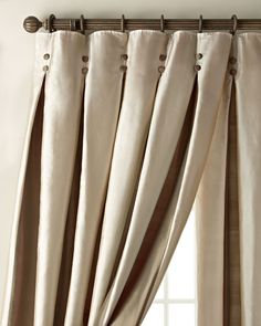 "Each 108""L Inverted Pleat Curtain, Chocolate/Gold - Neiman Marcus"