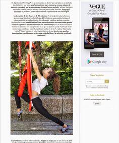 Aerial Yoga, Vogue Magazine, AeroYoga® & Clara Alonso Top aerial yoga,vogue magazine,  SALIMOS EN  PORTADA VOGUE ESPAÑA! CLICK AQUI PARA VER EL ARTICULO http://www.vogue.es/belleza/articulos/todo-sobre-la-disciplina-aeroyoga/21049  #yogaswing, #swing #aerialyoga #aerialpilates #siks #teacherstraining #certificacion #rafaelmartinez #aerialmeditation #aeromeditacion #meditation #internationalassociation #formacion #profesores #españa  #aerialfitness #aerofitness #bienestar #wellness