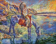 Historic American Indians researched and painted as they appeared in America's frontier days. There is a cost savings if larger paintings are shipped rolled and un-stretched.