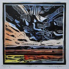 Nothern Lights Orginal Landscape Linocut Handcolored by Paintbox