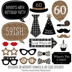 A fabulous photo booth has two things: a great backdrop and unique photo booth props. This set of 60th Birthday photo booth props will be the