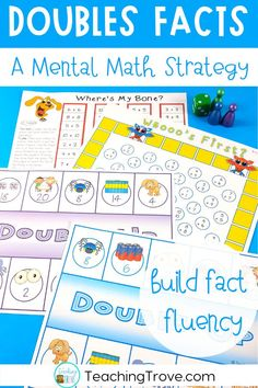 Doubles addition strategy games and activities are perfect for your first grade and second grade students. Teach the strategy with the anchor chart and use engaging worksheets and fun hands on games to provide practice. #doubles #doublesfacts
