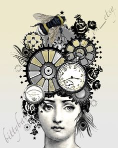 "Steampunk Digital Art Collage  ""Susannah"" Yellow/Bee/Feather/Gears. $20.00, via Etsy."