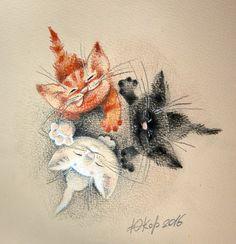 Посмотреть иллюстрацию Корякина Юлия - Вместе. Цветной вариант этой работы http://illustrators.ru/illustrations/915522 для открытки