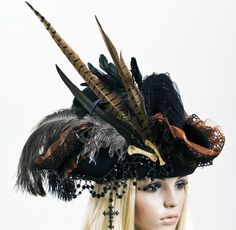 Piraten Hut Handmade Pirate Lolita Hat Gothic Steampunk Victorian Feather Cross in Kleidung & Accessoires, Kostüme & Verkleidungen, Accessoires | eBay