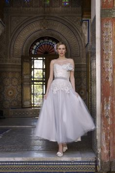 Strapless Sweetheart Top Lace Silver Tulle Colored Wedding Dress