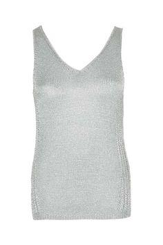 Metal Yarn V-Neck Vest