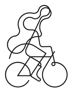 I like how lines can makes us think of so many things. This illustration is made our of few lines but yet we can see a lady riding her bicycle. AR
