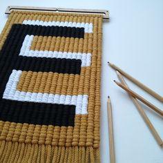 Alphabet Nursery, Nursery Letters, Macrame Art, Macrame Projects, Weaving Textiles, Tapestry Weaving, Minimalist Kids, Crochet Bunting, Weaving Wall Hanging
