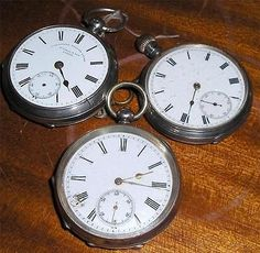 THREE ANTIQUE WORKING SILVER CASE POCKET WATCHES WALTHAM RESALE REPAIR PARTS