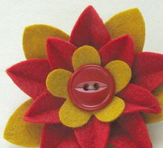 San Francisco 49ers Red and Gold Felt Flower Pin by Dorothy Designs