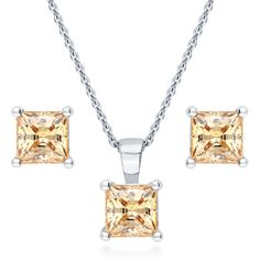 Silver Princess Yellow Swarovski Zirconia Solitaire Necklace Earrings... ($59) ❤ liked on Polyvore featuring jewelry, earrings, sets, women's accessories, yellow, fancy earrings, yellow jewelry, silver chain earrings, princess cut earrings and silver jewellery