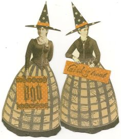 Halloween Witches Altered Art Mixed Media Paper