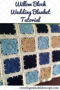 The Ultimate Pinterest Party, Week 104! Willow Block Wedding Blanket Tutorial - Crochet, Granny Square, Afghan, Handmade Wedding Gift, DIY