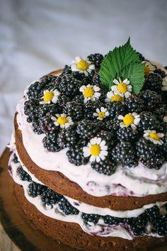 Hazelnut Blackberry Cake with Mascarpone Cream via Artful Desperado