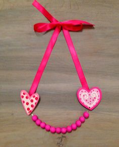 Little Girls Necklace Hearts  and Pink Beads by lucyjory on Etsy