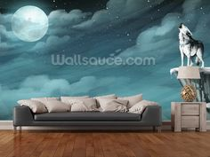 wolf wallpaper mural  Wolf In Forest Autumn - Minnesota wall mural room setting | Wolves ...
