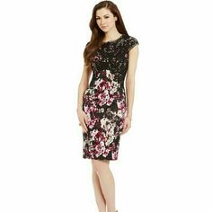 Beautiful Antonio Melani Disy Dress You'll love this beautiful Antonio Melani Disy printed scuba dress. Features beautiful lace detail, scoop neckline, cap sleeves, back zipper closure. Shell 95% Polyester, 5% Spandex. Lining 100% Polyester. ANTONIO MELANI Dresses