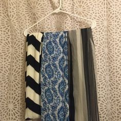 ❤️ Lot of 3 spring scarfs! ❤️ Black and white chevron infinity scarf. Black and ante stripped sheer scarf from h & m. Blue and white paisley sheer scarf from charming Charlie's. Will include separately with another purchase or individually, just ask! Accessories Scarves & Wraps