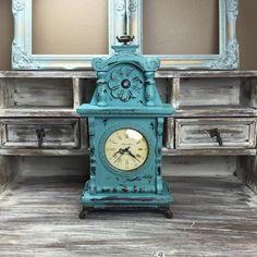 GORGEOUS MANTLE CLOCK Turquoise Clock Wood Mantle by ShabbyShores