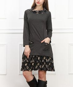 Love this Charcoal Plaid Cowl Neck Dress by Reborn Collection on #zulily! #zulilyfinds