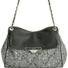 "Nine West Shoulder Bag Classic black and white fabric shoulder bag measures 17""X9""X7"". It has trendy chain detail with1 front exterior zip pocket and 2 interior front wall slip pockets and 1 back wall zip pocket. Nine West Bags Shoulder Bags"