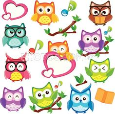Stock Illustrations: Cute And Happy Owl Clip Art Set!