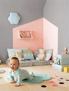 Nursery decor can be done in very different ways. Baby Bedroom, Baby Room Decor, Kids Bedroom, Nursery Decor, Designer Pillow, Pillow Design, Baby Kalender, Colorful Interior Design, Grey Furniture