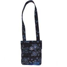 Multicolor Blues Geometric Flower Batik Print  Messenger Bag