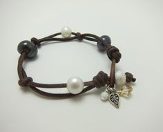 Pearls and Leather Bracelet by AlexisLjewelry on Etsy