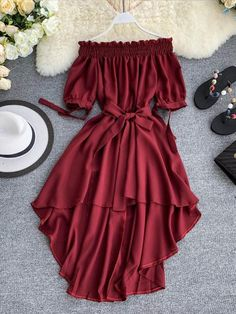 Off shoulder chiffon dress with hi-lo hem, specilised for sexy and pretty girls with great price[$27.91] . Multi colors available. #mididress #offshoulder #chiffondress #womendress #summerdress #casualdress #partydress #cocktail #girls Girls Fashion Clothes, Teen Fashion Outfits, Look Fashion, Girl Fashion, Girl Outfits, Fashion Dresses, Cute Prom Dresses, Stylish Dresses, Casual Dresses