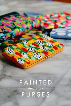 Painted Thrift Store Purses-The key ingredient here is an all-purpose paint that will stick to fabric or vinyl, and great flat brushes. Mark-making is such an easy way to create simple patterns, but if you don't have a couple of great brushes, it's much more difficult to get the paint to lay down just right. Double-tip brushes are especially handy for building up leopard-like patterns in a hurry.