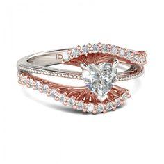 Jeulia Bead Design Two Tone Heart Cut Created White Sapphire Engagement Ring - Jeulia Jewelry