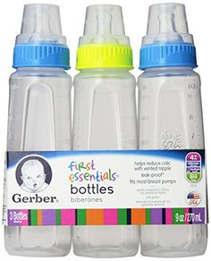 d563cea31 Gerber First Essentials Clearview Bottles in Boy Colors with Silicone  Nipple, 9-Ounce,