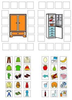 Clasificar vestimenta y alimentos para niños