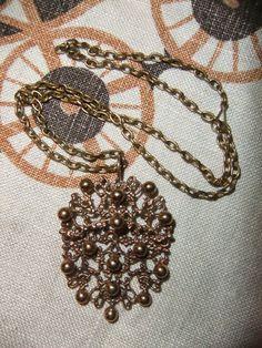 VINTAGE, MODERNIST - PENTTI SARPANEVA LARGE BRONZE PENDANT - Finland  VINTAGE MOD PENTTI SARPANEVA large bronze pendant and chain - made in Finland