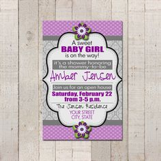 Girl Baby Shower Invitation 4x6 Purple Grey by bowpeepcreations, $10.95Paper Goods  baby  baby shower  invite  invitation  digital  customized  party  lds  girl  purple  gray  grey  silver