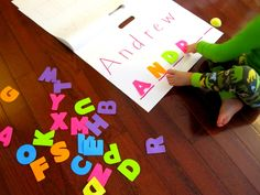 Write/spell your name activities for preschoolers - use magnetic letters. Preschool Names, Spelling Activities, Preschool Literacy, Alphabet Activities, Early Literacy, Writing Activities, Educational Activities, Preschool Activities, Kindergarten Names
