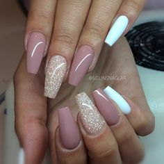 Long Coffin Nails. Blush + Glitter + White. So pretty! #nail #nailart