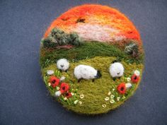 Hand Made Needle Felted Brooch/Gift 'Summer Sunset ' by Tracey Dunn in Crafts, Hand-Crafted Items Felt Pictures, Needle Felting Tutorials, Felt Purse, Felt Brooch, Brooch Pin, Felt Embroidery, Art Textile, Brooches Handmade, Felt Fabric