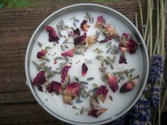 Rose lavender Vanilla Candle-Organic Rose petal and lavender candle-candle with charm-essential oil candle-floral scent handmade soy candles Organic Candles, Candle Supplies, Organic Roses, Beautiful Candles, Diy Candles, Rose Petals, Rose Buds, Sprinkles, Vanilla