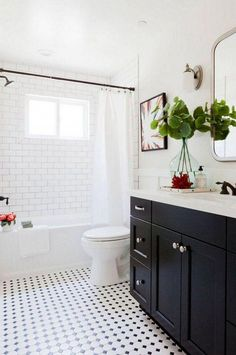 Fancy Classic Bathroom Design Ideas and Classic Bathroom Flooring Design Home Interiors. Black Cabinets Bathroom, White Subway Tile Bathroom, Black White Bathrooms, Small Bathroom, Subway Tiles, Master Bathroom, Black And White Bathroom Floor, Basement Bathroom, Shower Cabinets