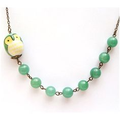 Antiqued Brass Green Porcelain Owl Jade Necklace.
