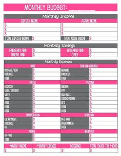 May need this in a few months>>> Free Budget Printables. Just in case Kevin ever turns this job over to me - my ledger will be cuter than his! Monthly Budget Worksheet, Budgeting Worksheets, Printable Budget, Free Budget Template, Menu Planner Printable, Free Printables, Bill Template, Budget Des Ménages, Budget Help