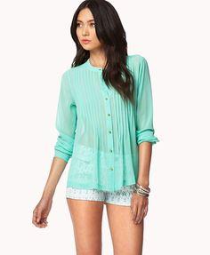 camisa blusa feminina forever 21 chiffon cor menta